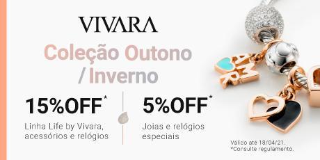 <p><strong>15% de desconto</strong> nas linhas Life by Vivara, acessórios em geral e relógios.</p>