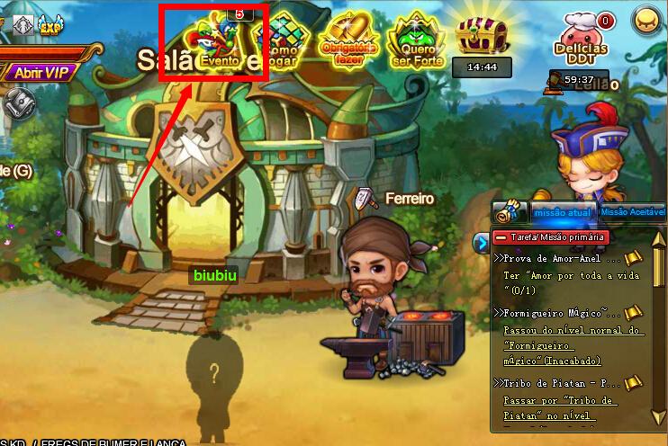 Se conecte no jogo e clique no ícone Evento