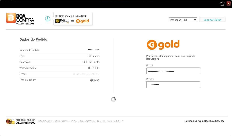 Informe seu e-mail e senha do BoaCompra ou do Go4Gold