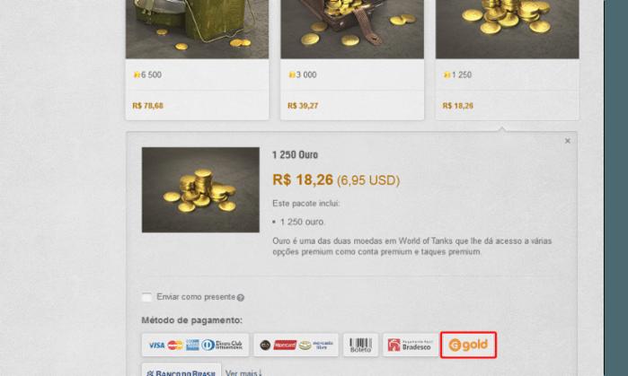 Ao selecionar um pacote, escolha a forma de pagamento com créditos Gold