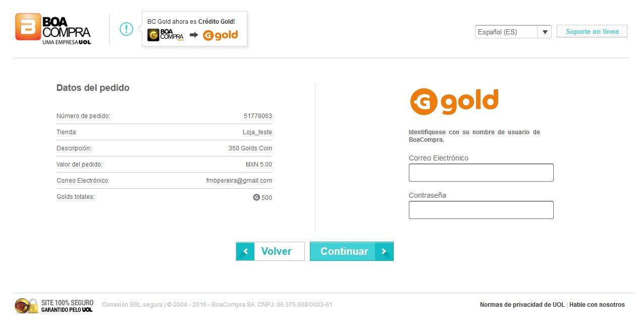 Introducir email y contraseña de Go4gold o BoaCompra.