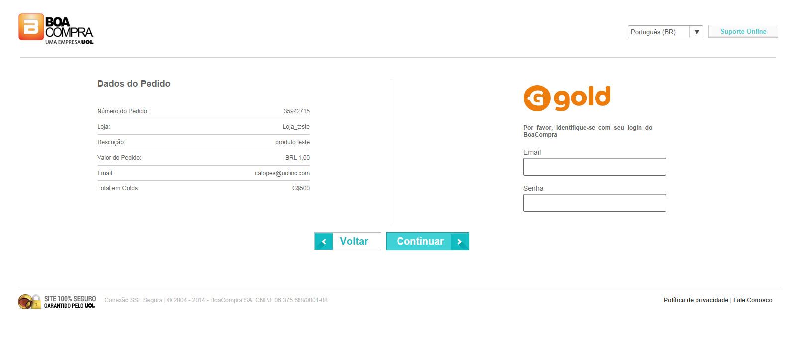 Informe seu e-mail e senha do Go4gold ou BoaCompra.