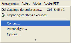 Clique em 'Ferramentas' (Tools) e selecione 'Contas' (Accounts)