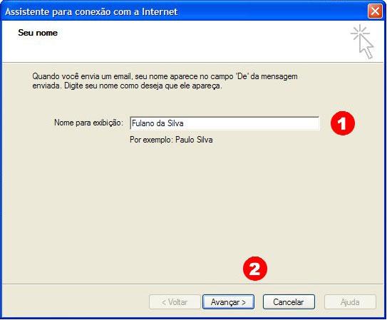 No campo 'Nome para exibi��o' (Name) coloque seu nome e clique em 'Avan�ar' (Next)