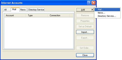 Na nova janela, clique em 'Adicionar' (Add) e selecione 'E-mail' (Mail)