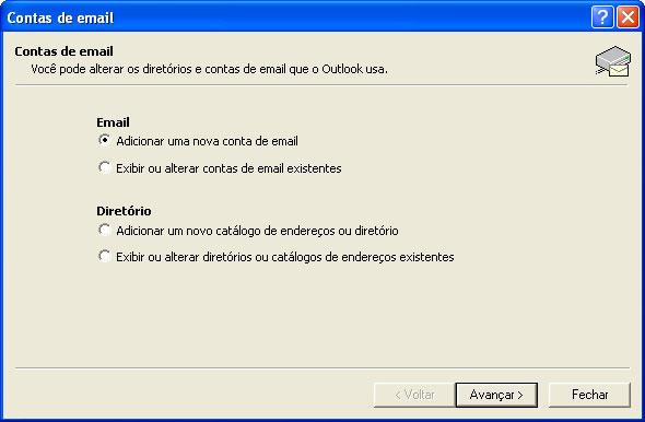 Na nova janela, selecione 'Adicionar uma nova conta de e-mail' (Add a new e-mail account)
